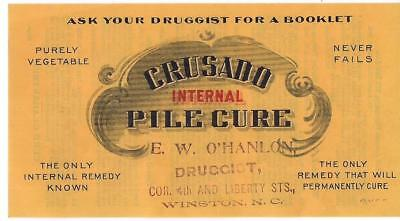 "Dr Donald Wallace ""Crusado Internal Pile Cure"" Medical Hemorroid Remedy Advrtsg"