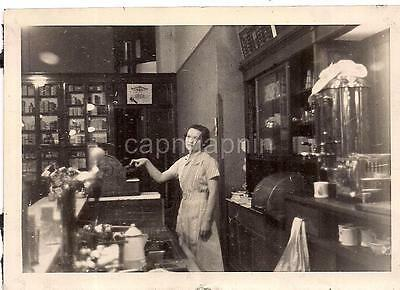 Bored Tired Looking Girl Woman Pressing Cash Register Key Soda Shop? Vtg Photo