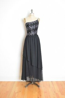 vintage 80s dress black silver sequin one shoulder disco maxi party dress XS