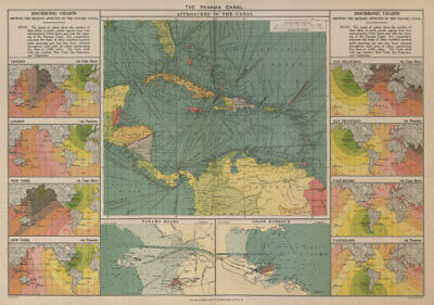 PANAMA CANAL approaches. Isochronic charts before/after opening. Colon 1916 map