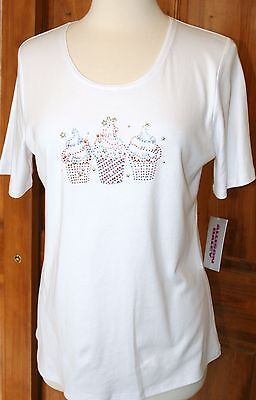 cb7d79ca859b8 ALLISON DALEY NEW NWT Cupcake Knit Top Short Sleeve White T-Shirt PM ...