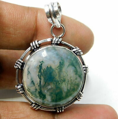 Huge Moss Agate 925 Sterling Silver Plated Handmade Jewelry Pendant 10 Gm-Ak90