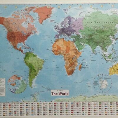 LARGE WORLD MAP With Large English French Country Wall Poster ...
