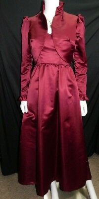 Vintage Bianchi Dress High Collar Victorian Ladies 8 Dark Red Swank Evening Gown