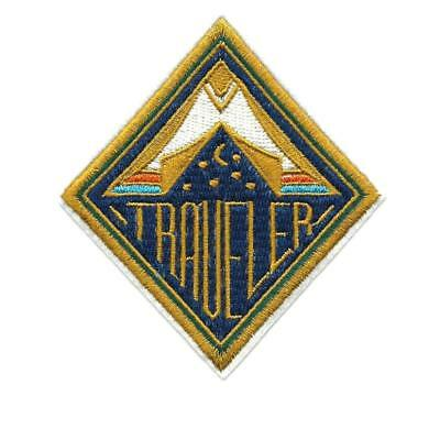 """TRAVELER ON PATCH 4"""" Outdoor Camping Adventure Merit Badge Embroidered Applique"""