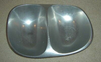NAMBE Double Serving Bowl Plate Dish W170 1983 Modernist Metal Alloy Made in USA