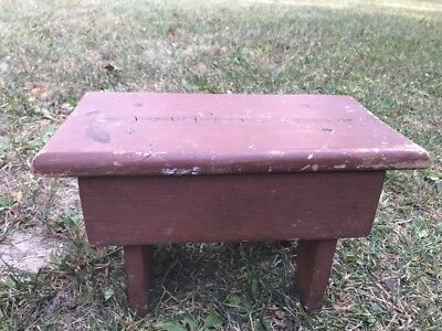 """Small Vtg Wooden Bench Stool Rustic Farm House Estate Country Decor Brown 13x7"""""""
