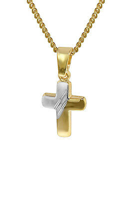 Trendor Jewellery Gold 333 Bicolour Crucifix Pendant with 40 cm Gold-Plated