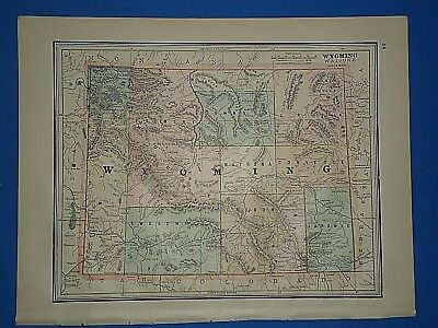 Vintage 1891 WYOMING MAP ~ Old Antique Original Atlas Map 112118