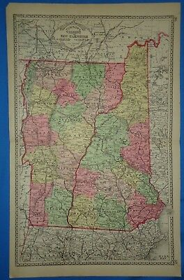 Vintage 1888 NEW HAMPSHIRE VERMONT MAP Old Antique Original Tunison's Atlas Map