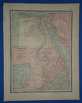 Vintage 1891 EGYPT ARABIA ABYSSINIA MAP ~ Old Antique Original Atlas Map 112118