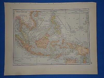 Vintage 1891 SOUTHEAST ASIA - VIETNAM MAP Old Antique Original Atlas Map 112118