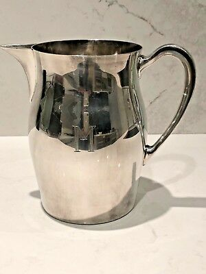 E.P.C.A. BRISTOL Silver Plate 54 Vintage Silver Water Pitcher Ice Lip Engraved M