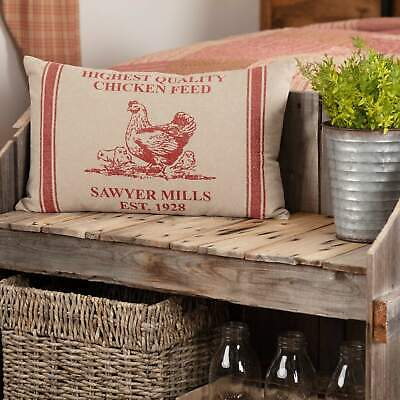VHC Brands Sawyer Mill Red Hen and Chicks Farmhouse Grain Feed Sack Pillow