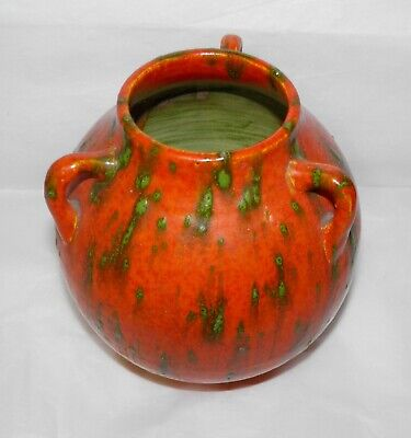 Antique ART DECO Japanese AWAJI POTTERY LAVA FLAMBE VASE Orange & Green 3 Handle