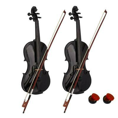 2 x New Acoustic Black Violin Fiddle Full Size 4/4 + Csae & Bow & Rosin