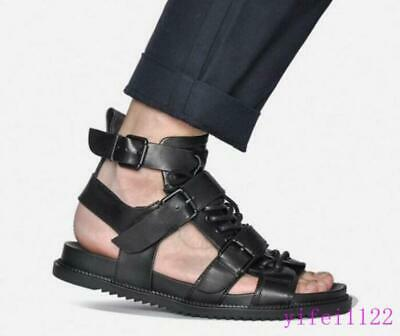 f6c9d65ded4d Summer Buckles Mens Sandals Gladiator Roma Hollow Leather Lace Up Casual  Shoes