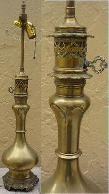 """FRENCH  ORNATE ANTIQUE  BRONZE  LAMP  28"""" H -  converted from oil"""