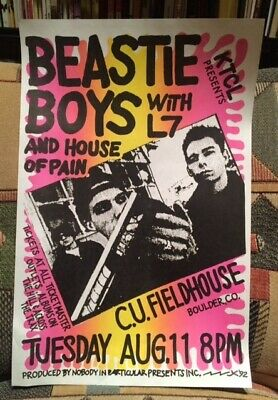 BEASTIE BOYS and HOUSE of PAIN with L7 – BOULDER, CO 1992 - Rare Poster