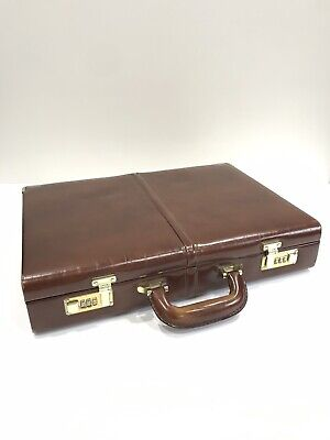 Vintage quality leather solid suitcase GABEE  brown