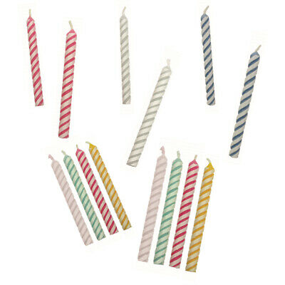 PME 24pk Coloured Striped Candles for Birthday Party Celebration Cake Decorating