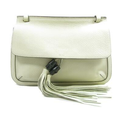 5bfcf77bfbf GUCCI Bamboo Daily Flap Tassel Shoulder Bag 370826 leather Ivory Used