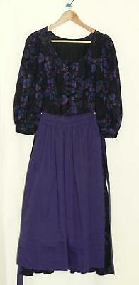 BLACK & PURPLE DIRNDL Dress German Austria Women Girl OKTOBERFEST Party 0 XXS