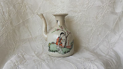 Antique Chinese Hand Painted Porcelain Water Dropper Pitcher ca: 1930's