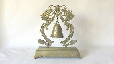 Vintage Engraved Chinese Dragon Brass Hanging Bell 10.5""