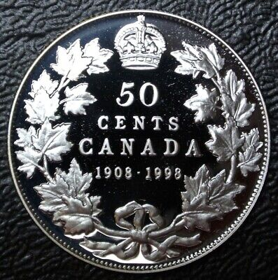 1908-1998 CANADA 50 CENTS - .925 SILVER PROOF - 90th Anniv. Royal Canadian Mint