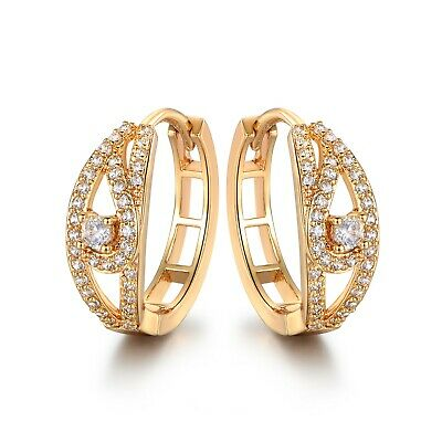 B54 Yellow or White Gold Filled Large Hoop Cubic Zirconia Earrings BOXED Plum UK