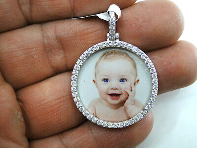 Custom Round Memory Photo Picture Pendant Charm 925 Sterling Silver Personalized