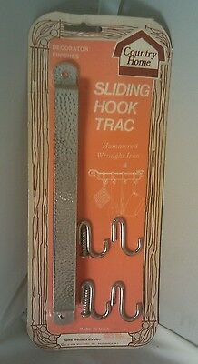 Vintage Hammered Wrought Iron Sliding Hook Trac Country Home Made In USA