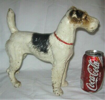 Huge Antique Hubley Fox Terrier Cast Iron Dog Art Statue Sculpture Home Doorstop