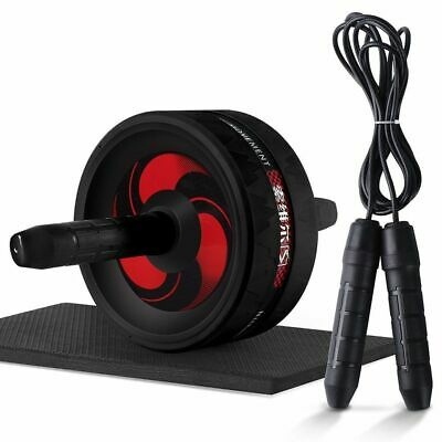 Ab Wheel Roller Exercise & Jump Rope 2 in 1 Abdominal With Knee Mat Gym Fitness