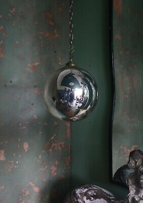 Large 20th Century Foxed Witches Ball Antique Curio Magical Witchcraft Mirror