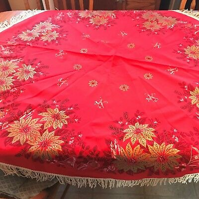 """Sweet Vintage Screen Print Christmas Round Red Tablecloth w Fringes 56"""" Diameter"""