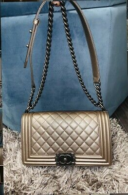 6bf8604ca508 CHANEL BOY MEDIUM Reverso Quilted Ruthenium Gray Calf Leather ...