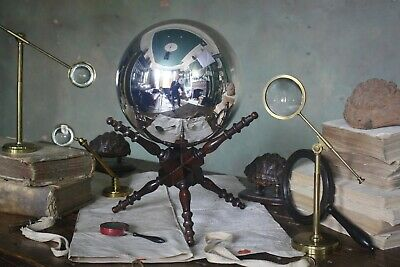 19th Century Scientific Witches Ball on Stand Curio Antique Treen Mirror