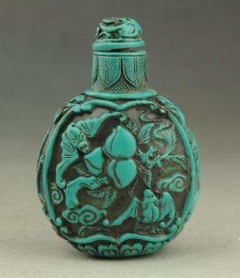 Chinese Old Kallaite Hand-Carved Pattern Bat Butterfly Snuff Bottle