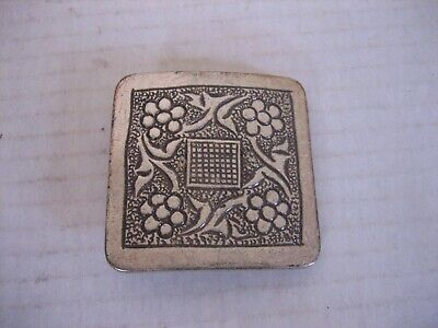 Vintage Small Decorative Square Silver Metal Belt Buckle Only 2in.Sq. Pre-Owned