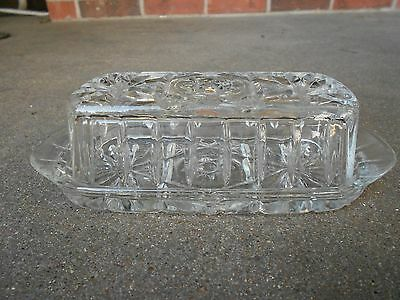 Anchor Hocking STAR OF DAVID Covered Butter Dish PRESCUT Clear