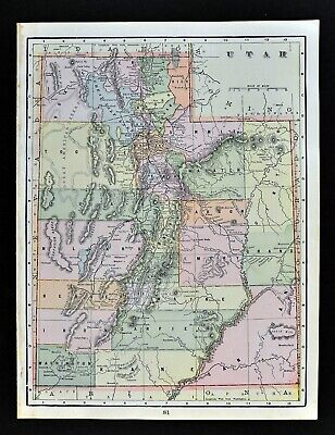 c 1899 Cram Map Utah Salt Lake City Provo Odgen Moab Price Heber Logan Antique