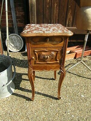 Lovely Antique French Carved Walnut Marble Topped  Bedside Cabinet Lamp Table