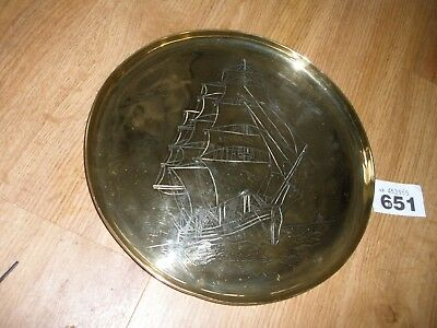 Heavy Arts And Crafts Brass Galleon Plate