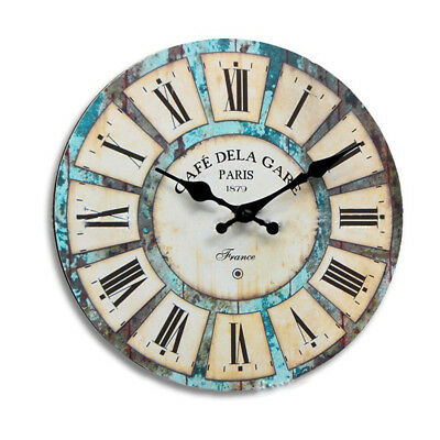 30cm Large Round Wooden Wall Clock Vintage Retro Antique Distressed Style Decor