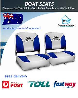 Seamanship Set of 2 Folding Swivel Boat Seats – White & Blue