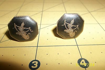 Pair Of Old Vtg Niello Sterling Silver Siam Temple Dancer Cufflinks, Vg Cond