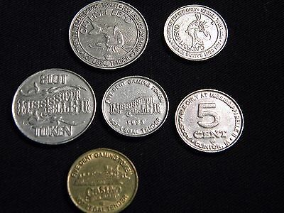 6 Rare Obsolete Casino Slot Machine Gaming Tokens Fractional Dollar 5 & 25 Cents