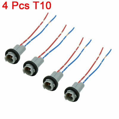 4pcs DC 12V Universal T10 Car Auto Wedge Light Bulb Base Socket Wire Adapter